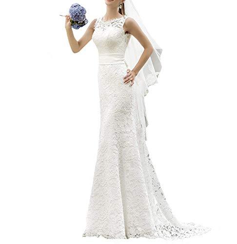 YASIOU Hochzeitskleid Damen Standesamt Spitze Lang Meerjungfrau Hochzeitskleider Brautkleider...