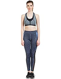 884f3bc171 TUNA London Blue Polyester Spandex Printed Slim Fit Track Pant for Women