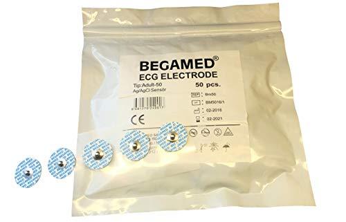 Ekg-elektroden (EKG-Elektroden für Erwachsene, 50 mm, Packung mit 50 Stück, Ag/AgCI, hochwertig, CE-zertifiziert.)