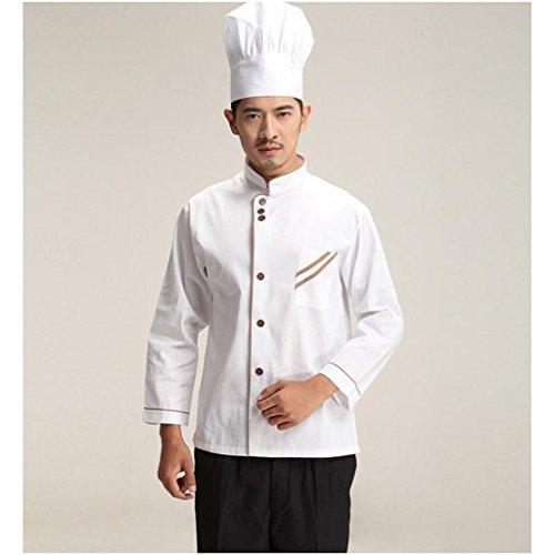 F Fityle Weiß Langarm Kochjacke Bäckerjacke mit Knöpfe Gastronomie Arbeitskleidung Koch Küchen Uniformen Kochkleidung - Weiß, XXL - 2
