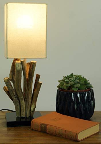 Guru-Shop Tischleuchte/Tischlampe Vigo,Treibholz, Baumwolle, in Bali Handgemacht aus Naturmaterial - Modell Vigo, 42x15x15 cm, Dekolampe Stimmungsleuchte