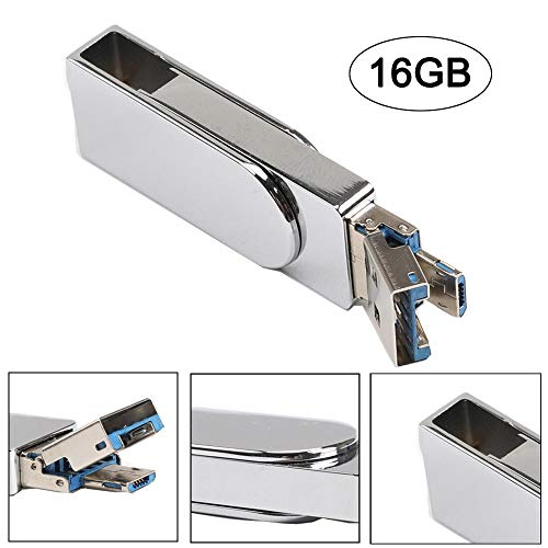 BZLine USB-Flash-Laufwerk   USB 3.0   Memory Stick Speicher   Kapazität: 4, 8, 16, 32, 64, 128 GB   OTG & USB Dual Use Disk 80MB/S (16 GB, Silber) - Alloy Usb-flash-laufwerk