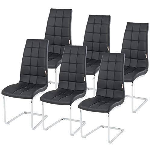 ESTEXO 2/4/6/8x Esszimmerstuhl Freischwinger, Küchenstuhl, Schwingstuhl, Esszimmerstühle, Sitzgruppe, Stuhlgruppe (6 Stück, Schwarz) - 2 Stück Metall-stuhl