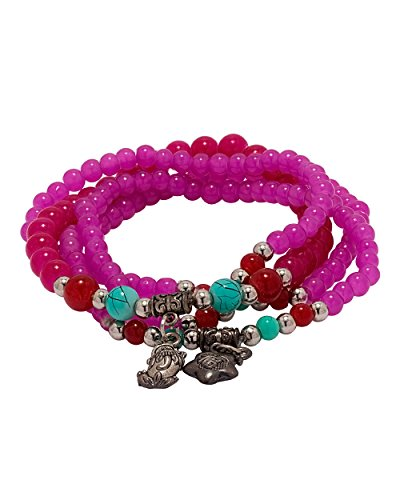 NIA combo of pink beaded bracelet and necklace For Women  available at amazon for Rs.289