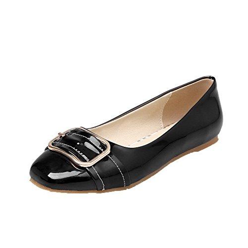 VogueZone009 Femme Tire Non Talon Verni Fermeture D'Orteil Chaussures Légeres Noir