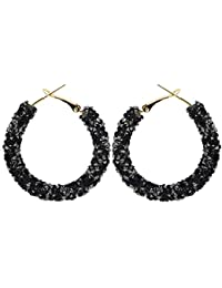 Jet Black Shiny Fashion Sparkle Stardust Rhienstones Cluster Hoops Women Earrings E1387B