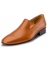 DE SCALZO Tan Croco Leather Slip On Shoes For Men