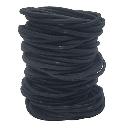 100Stück schwarz Stretch Haar Bänder Bands Elastic Seil Pferdeschwanz Inhaber Haarband Bulk