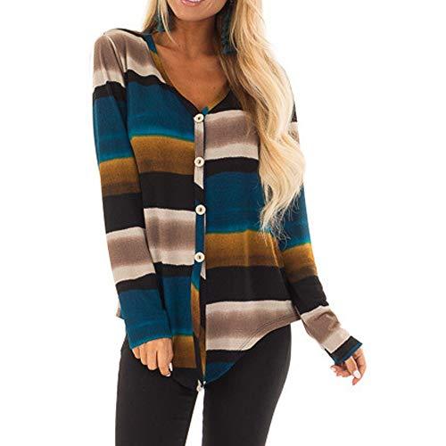 OSYARD Damen Oberteile T-Shirt Sweatshirt, Frauen V-Ausschnitt Strickpullover Langarm Multicolor Streifen Print Bandage Bluse Tops mit Button Tunika Oberteile Hemd Pulli Pullover (XL, Mehrfarbig)