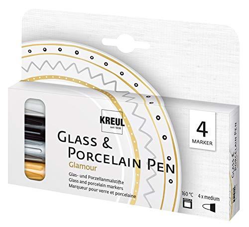 Kreul 16431 Glass & Porcelain Pen Glamour, deckende Glas-und Porzellanmalfarbe auf Wasserbasis mit formstabiler Spitze, Strichstärke ca. 2-4 mm, Brillante und lichtbeständige Farbe, 4 Stifte, bunt
