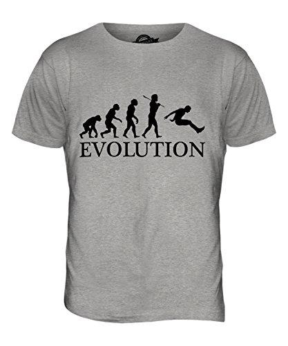 CandyMix Weitsprung Evolution Des Menschen Herren T Shirt Grau Meliert