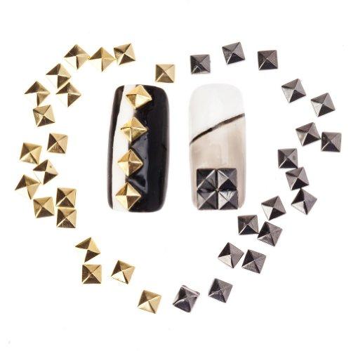 Striper Glitter (100 Gemischte 4mm Pyramiden Metall Nieten Spike Maniküre Nail Art Dekorationen von Cheeky®)