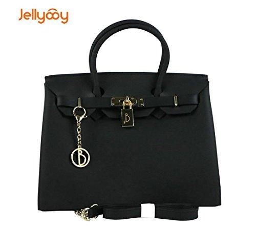 Aabb Kelly Tasche Handtasche Schultertasche Gelee Bunte Gradienten Rampe Shader PVC-Reißverschluss (Color : Black) (Gel Schwarz Schaffell)
