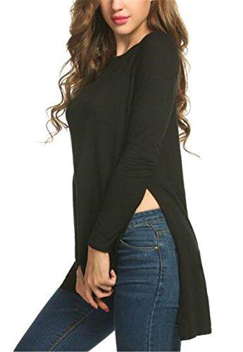 Tayaho Casual Femme Tee Shirt Manche Longue Basique Col Rond Slim Fit Classic Couleur Unie Mince Soft Top Blouse Mode Fashion Black
