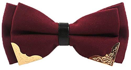 HAIYUGUAGAO Fliegen für Männer New York - vorgebundene Metallkante mit Smokingfliege (Color : Burgundy Red/Gold Metal, Größe : Bow Tie) -