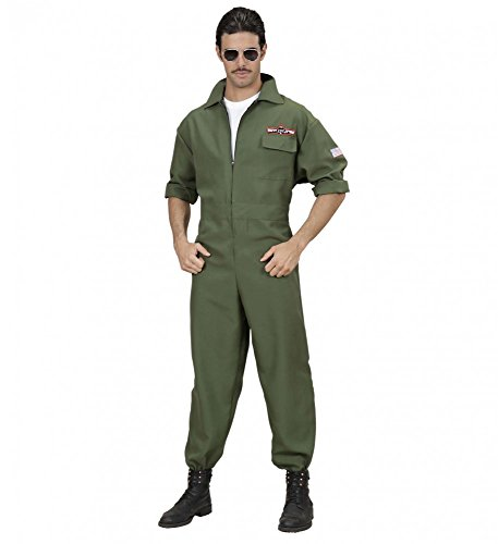 Piloten-Overall Topgun Kostüm inklusive Brille WID Maverick Jetpilot Top Gun, Größe:L