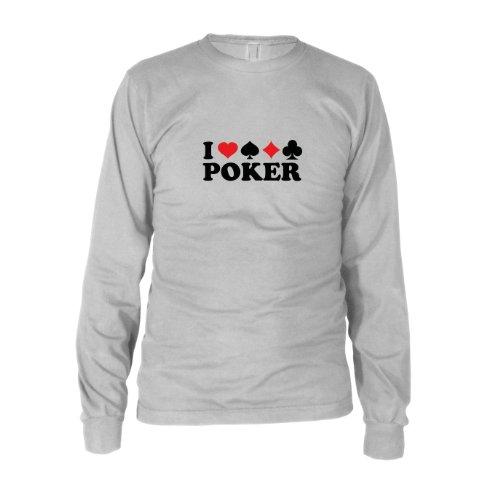 I love Poker - Herren Langarm T-Shirt, Größe: XXL, Farbe: ()