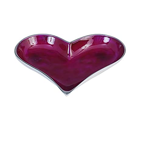 Kosma Recycled Aluminium Serving Bowl | Salad Bowl | Nibbles Dish in a Purple Colour Enamel Finish (Heart shaped) - 26 x 25.5 x 4cm by Kosma