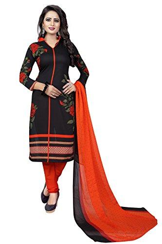 Rangrasiya Women\'s Black Faux Crepe Printed Salwar Suit