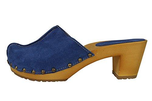 Buxa Damen Holz und Wildleder Clogs mit Hohen Absätzen und Metallbolzen Blau