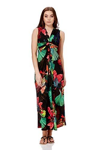 Roman Originals Damen ärmelloses Maxi-Kleid mit Tropenmuster - Damen Sommerkleider - Schwarz - Größe 48