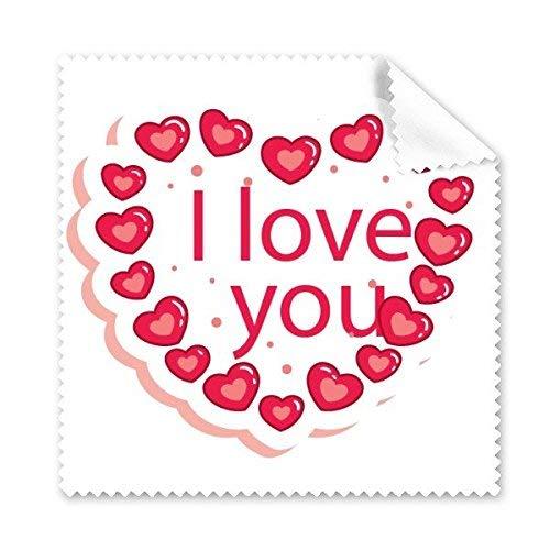 Xinsushp Home Valentinstag Rosa Herz geformt Ich Liebe Dich weiß-basierte Illustration Muster Glas Tuch Reinigungstuch Telefon Bildschirmreiniger