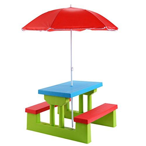 Blitzzauber24 Ensemble de Jardin pour Enfants Salon de Jardin Table et 2 Bancs avec Parasol Table d'Activité Exterieur