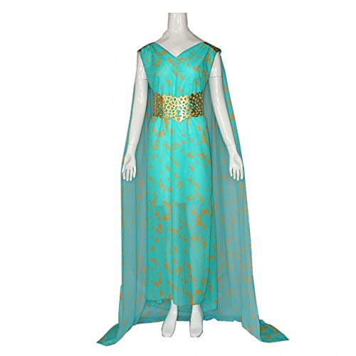 JUFENG of Thrones Outfit Für Cosplay Party Halloween Kostüm Langes Blaues Kleid Spiel,Green-XL (Dunkle Göttin Halloween Kostüme)