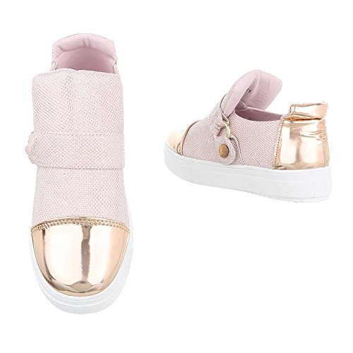 Low-Top Sneaker Damenschuhe Low-Top Sneakers Druckknopf Ital-Design Freizeitschuhe Rosa Gold