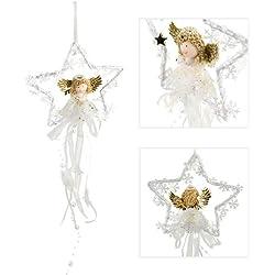 Hänger Engel goldene Flügel, Weihnachtsdekoration, Engel im Stern, Weihnachtsengel