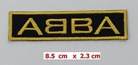Poly music patches Aufbügler, mit aufgesticktem ABBA-Logo, 8,9°cmx 2°cm, für T-Shirt/Mütze/Jacke