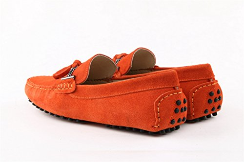 Minitoo Mens Driving Herren Slipper, Veloursleder, Tassel Penny Boat, Schuhe Arancione (arancione)