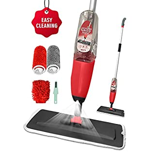 Floor Spray Mop, BMOSTE Microfibre Water Spraying Floor Cleaning Tool with 2 Microfibre Refill Pad &Windows Cleaner Gloves & 600Ml Refillable Bottle.