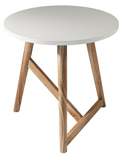 Gallery Direct Hamar Table d'appoint Ronde, Bois, Blanc, 50 cm