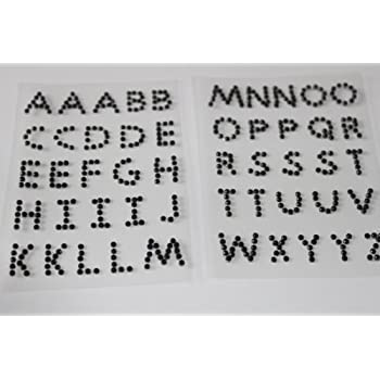 50 Self Adhesive Rhinestone Diamante ALPHABET LETTERS ABC craft embellishments (black)