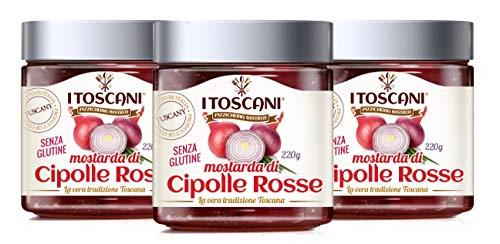 Mostarda di Cipolle Rosse, 3 confezioni da 220 g - i Toscani. Senza GLUTINE, senza CONSERVANTI aggiunti, italia