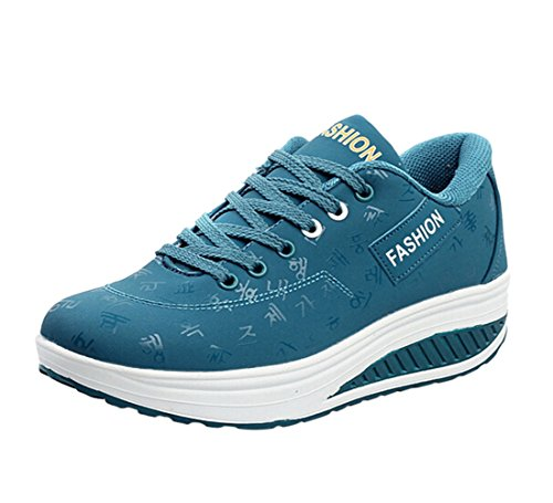 Qianle Women's Running Trainers Ladies Sports Shoes Lace Up Athletic Gym ShoesUK5.5