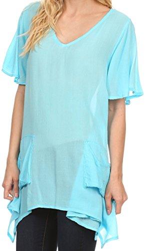 Sakkas Elisia Long Tall manches courtes col en V Mouchoir de poche Shirt Blouse Top Bleu