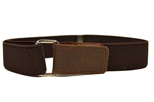 Childrens 1-6 Years fully adjustable Elasticated Belt with Hook and Loop Fastening - Dark Brown