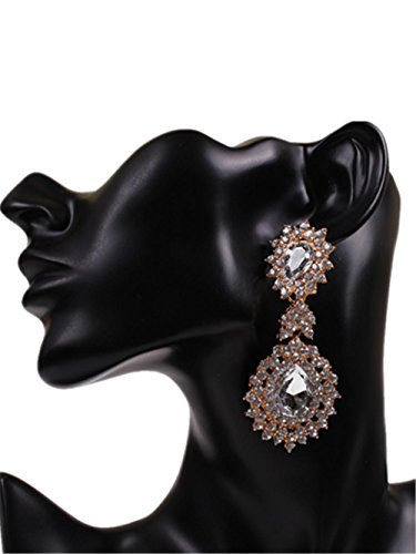 Weibliche Mode Ohrring Ohrringe große Übertreibung-Tropfenohrring mit Diamant , white - Diamant-hochzeit Ring-sätze Gold