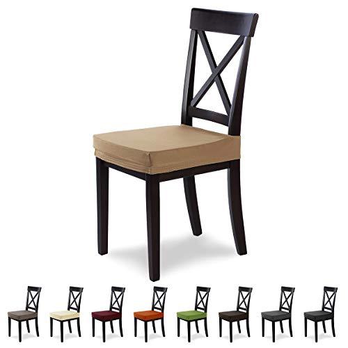 SCHEFFLER-Home Marie 2 Fundas para Asiento de sillas, Estirable Cubiertas hidrófugo, Funda con Banda elástica, Beige