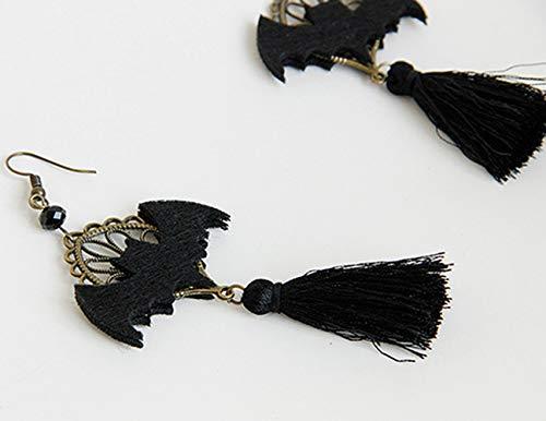 ledermaus Ohrringe Mode Menschen Temperament Gesicht Dünnen Kalten Wind Halloween Schmuck Gothic Ohrringe,Schwarz,1 ()