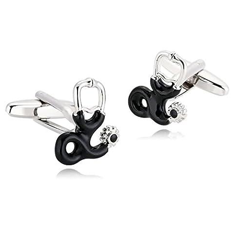 AMDXD Bijoux en acier inoxydable Boutons de manchette pour homme Stéthoscope Argent Noir Boutons de manchette 1.5x 1.8cm