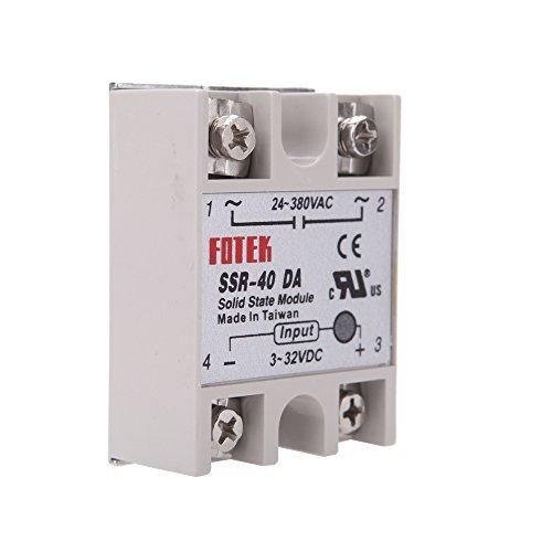 KKmoon 24V-380V 40A SSR-40 DA Solid State Relaismodul Relay Module für die PID Temperaturregler 3-32V DC-AC (Relais State Dc-solid)