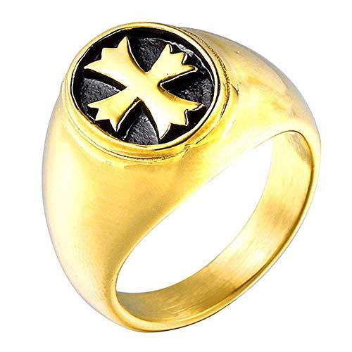 NBMCXC Querringe für Männer Titan Stahl Christian Jesus Heiligen Gebet Ring (Für Fisch-ringe Christian Männer)