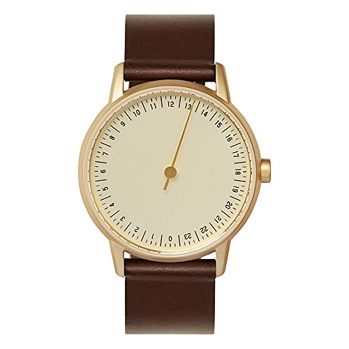slow round 08 - Dark Brown Leather, Gold Case, Gold Dial