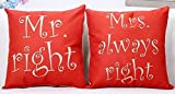 ruishandianqi Kissenbezüge Sweethe Mr. Right Mrs. Always Right Red Valentine's Day Courtship Gift Cotton Decorative Throw Pillow Case Cushion Cover Square 18