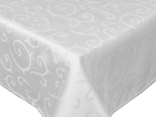 Betz edle Jacquard Tischdecke Tischtuch Tischwäsche rund Farbe Weiß Größe 160cm, 225 g/m²