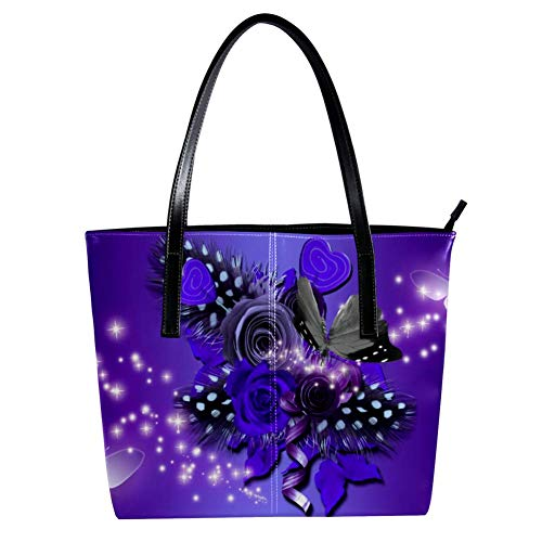 Women's Bag Shoulder Tote handbag with Purple Flower And Butterfly print Zipper Purse PU Leather Top-handle Zip Bags -