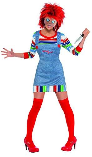 Frauen Kostüm Chucky - erdbeerclown - Damen Frauen Kostüm Chucky mit Pullover-Latzkleid Maske und Perücke, perfekt für Halloween Karneval und Fasching, L, Blau
